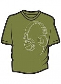 Headphones moss green t-shirt