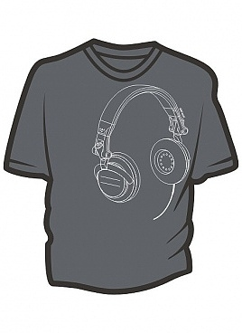 Headphones grey t-shirt